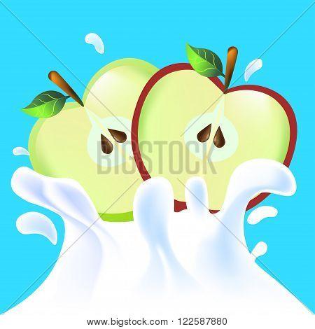 Halfs Of Apple In Yoghurt