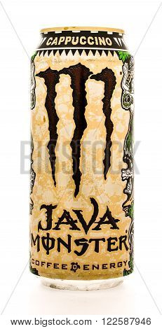 Winneconne WI - 12 August 2015: Can of Java Monster coffe enery drink in cappuccino flavor.