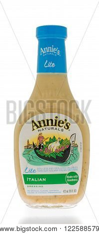 Winneconne WI - 25 Feb 2016: Bottle of Annie;s naturals salad dressing in Italian flavor