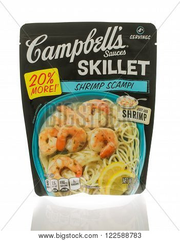 Winneconne WI - 18 Nov 2015: Package of Campbell's sauces that are made in a skillet and in shrimp scampi flavor.