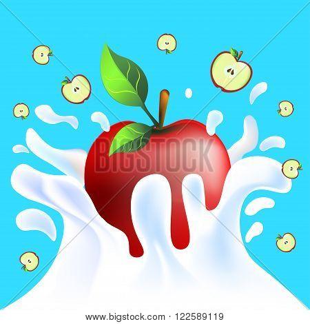 Red Apple In Yoghurt