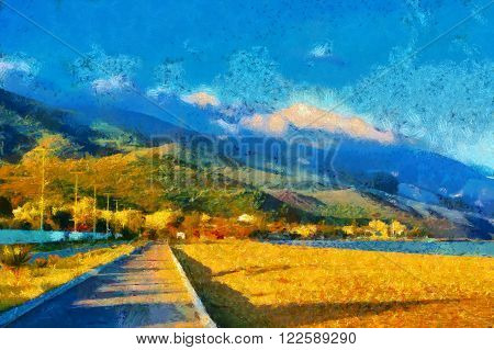 A digital painting of a Pathway on beach with mountain backdrop with Monet style brushstrokes