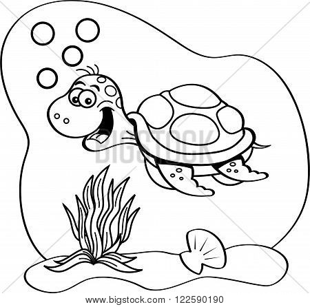 Black and white illustration of a sea turtle swimming underwater.