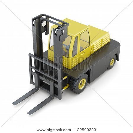Modern forklift isolated on white background. 3d rendering.