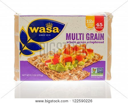 Winneconne, WI - 18 Nov 2015: Package of Multi grain crispbread made by Wasa.