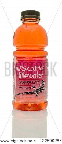 Winneconne, WI - 14 Jan 2016: Bottle of Sobe lifewater in Pomegranate cherry flavor.
