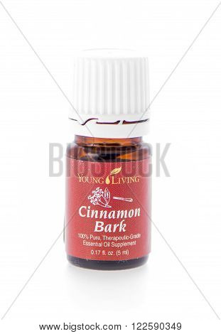 Winneconne WI - 19 February 2015: Bottle of Young Living Cinnamon Bark essential oil supplement.