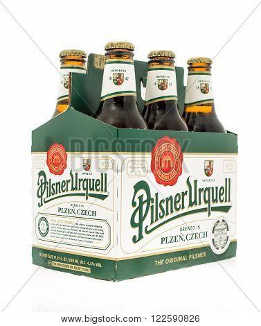 Winneconne WI -3 Nov 2015: Six pack of Pilsner Urquell beer.