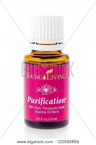 Winneconne WI - 19 February 2015: Bottle of Young Living Purification essential oil supplement.