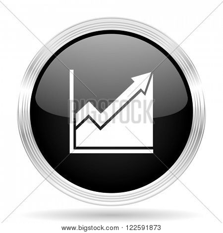 histogram black metallic modern web design glossy circle icon