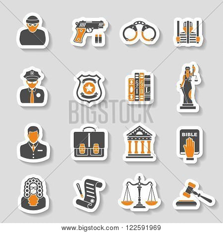 Set Crime and Punishment Icons Sticker Set for Flyer, Poster, Web Site  like Thief, Policeman, Lawyer, Judge, Handcuffs, Themis and prison.