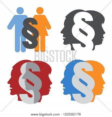 Male and female stylized head silhouettes with paragraph symbolizing family law. Vector available.