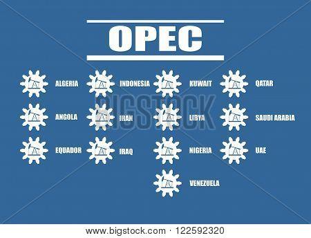 OPEC members list. Oil pump icons on cog wheels