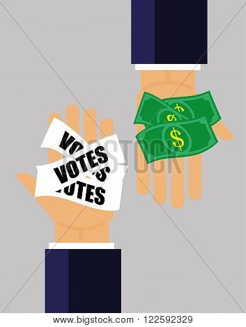 Two hands pass money for votes to each other as a concept for corruption in elections and politics