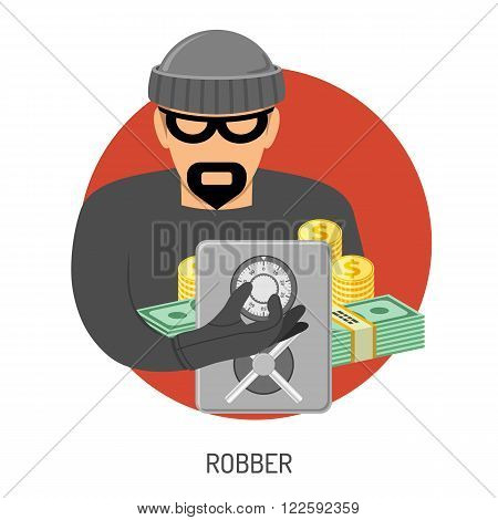 Crime and Punishment Vector Concept with Flat Icons for Flyer, Poster, Web Site, Advertising Like Robber, Safe and Money.