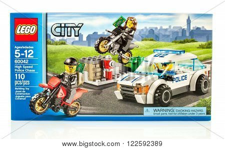 Winneconne, WI - 18 Dec 2015: Box of Lego High speed police chase from the Lego City collection.
