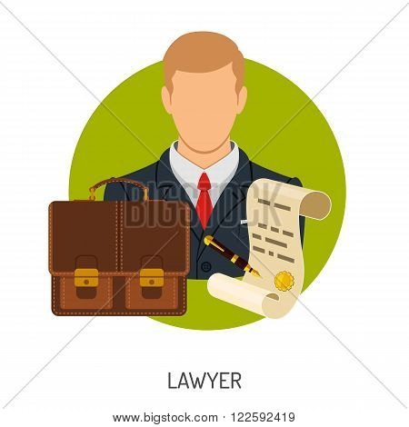 Crime and Punishment Vector Concept with Flat Icons for Flyer, Poster, Web Site, Advertising Like Lawyer, Briefcase and Document.