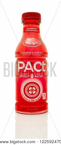 Winneconne WI - 14 Jan 2016: Bottle of Ocean Spray Pact in cranberry pomergranate flavor