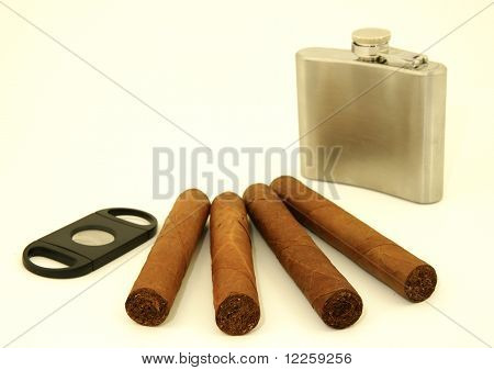 Male accessories: cigars, hip flask