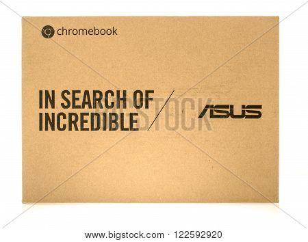 Winneconne WI - 3 Dec 2015: Package of a ASUS chromebook