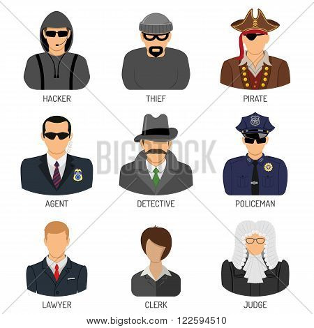 Set Vector Characters of Criminals and Law Enforcers Flat Icons for Poster, Web Site, Advertising Like Thief, Policeman, Lawyer, Judge, Hacker, Agent, Detective.