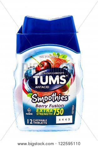 Winneconne WI -25 Sept 2015: Bottle of Tums anti acid indigestion medicine.