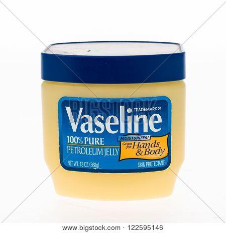Winneconne WI - 20 April 2015: Jar of Vaseline petroleum jelly