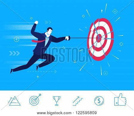Flat design vector concept illustration. Businessman hit the target with his sword. Good profit. Vector clipart. Icons set.