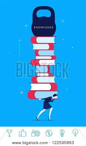 Flat design vector concept illustration. businesswoman pulling a heavy load. Knowledge is power.  Good profit. Vector clip art. Icons set.