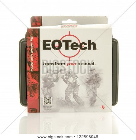 Winneconne, WI - 10 Jan 2016: Package that contains an EOTech holographic sight that can be mounted on a magnitude of rifle's.