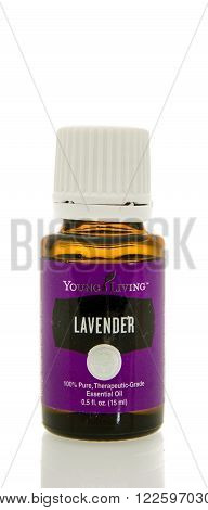 Winneconne WI - 10 Feb 2016: Bottle of Young Living lavender essential oil.