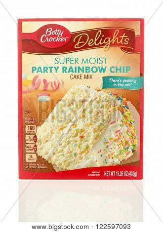 Winneconne WI - 6 Dec 2015: Box of super moist cake mix in party rainbow chip flavor in a new box.