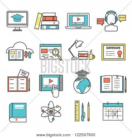 Online education ouitline icons vector set of distance education school and webinar education symbols. Online education outline icons webinar online education. School, university