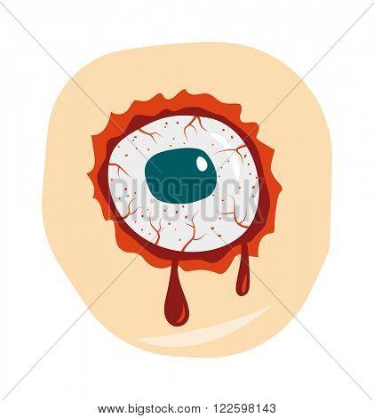 Bloodshot green blue eyeball zombie monster and zombie danger eye nightmare vector. Halloween zombie eye. Cartoon doodle zombie eyes demon blood vector illustration.