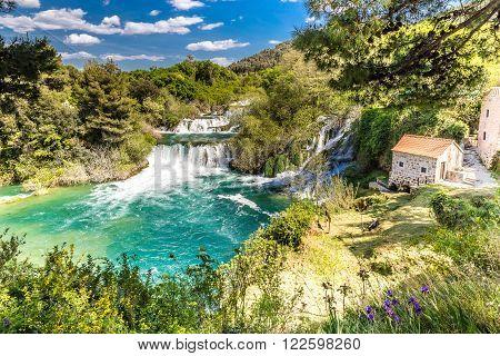 Beautiful Skradinski Buk Waterfall And Old Mill In Krka National Park - Dalmatia Croatia Europe