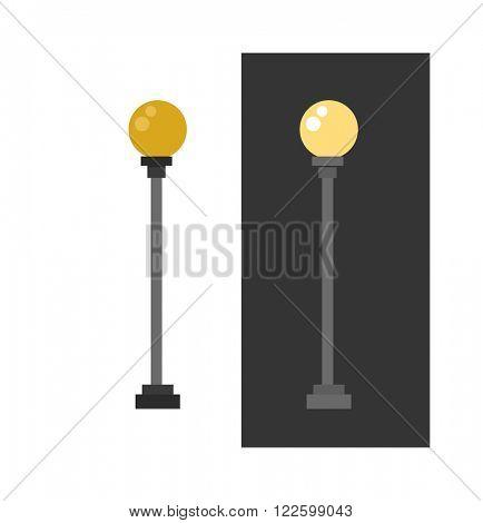 Lamp retro metal street object electricity industry and vintage street energy lamp exterior vector. Street lamp urban lantern light flat vector illustration. Street lamp yellow color