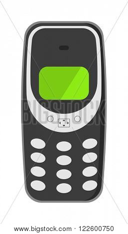 Old vintage keypad mobile phone and icon of old classic mobile phone antique vector. Old style mobile phone technology retro cellphone vector illustration.