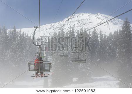 Ski Lift In The Fog