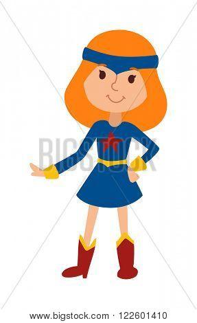 Cartoon girl princess costume and cute cartoon child princess character vector. Illustration of beautiful cartoon little fantasy girl princess vector. Beauty young princess in blue dress costume
