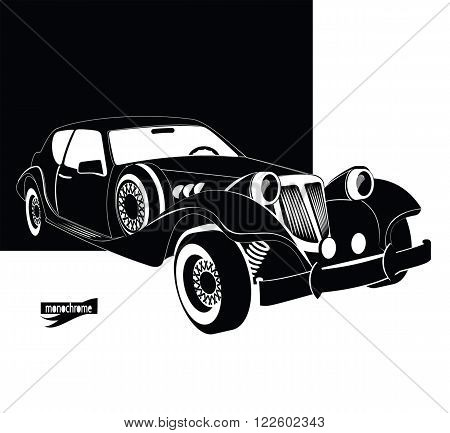 Auto vintage and luxury. Retro black car out of the darkness garage. Monochrome style for design signboard, poster, flyer, print, event card. Vintage cars vectors. Car rental and service sign.