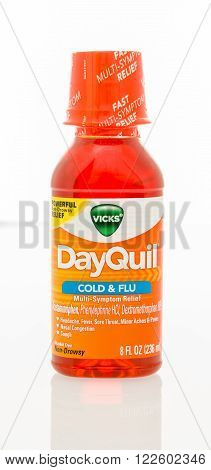 Winneconne, WI - 29 Jan 2016: A bottle of DayQuil cold and flu medicine