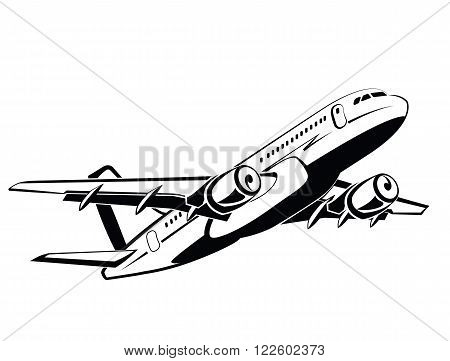 Airplane, plane on takeoff, passenger plane. Airlines. Airport and travel transport. Business and economy class. Symbol and icon vector design, monochrome style, hand drawing.