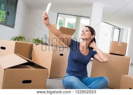 Woman Taking A Selfie In Her New House