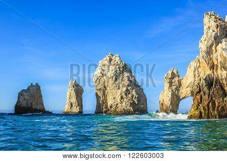 Los Arcos rock formation at Lands End in Cabo San Lucas, Baja California Sur, Mexico.  .