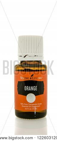 Winneconne WI - 10 Feb 2016: Bottle of Young Living orange essential oil.