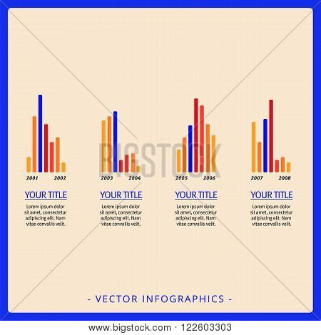 Editable template of large group representing vertical bar charts with titles and sample text, multicolored version