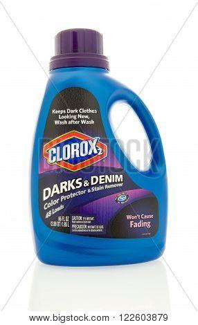 Winneconne, WI - 4 Feb 2016: Bottle of Clorox 2 laundry detergent for dark clothes.