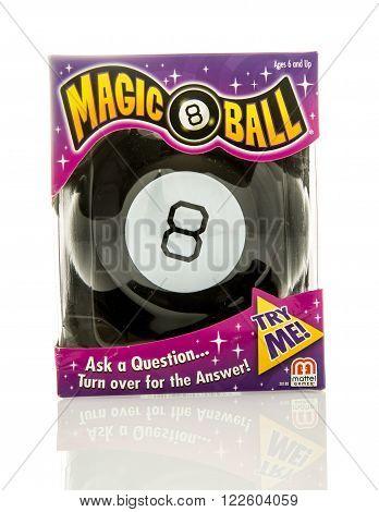 Winneconne, WI - 5 Feb 2016: Box of the original Magic 8 Ball made by Mattel.