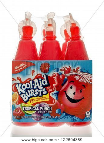 Winneconne, WI - 19 Feb 2016: Bottles of Kool-Aid bursts in tropical punch flavor.