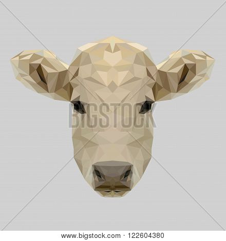 Vector portrait of cow polygonal style. Triangle illustration of animal for use as a print on dairy products. Geometric low poly calf design. Animal live in farm or national park.